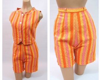 1960s Orange and Pink Shorts Set - Romper - early 60s High Waisted Shorts - Rib Tickler - Tank and Bermuda Shorts by MarTee