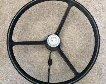 Vintage steering wheel wall lamp