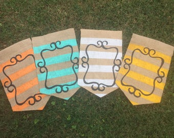 Choose Your Initial Traditional Stripe with Scroll Fall Summer Burlap Yard garden Flag