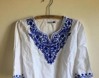 SUMMER SALE Kids Cotton Mexican Vintage White Tunic • Blue Embroidered Age 6 to 7 Tunic