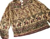 Vintage Boho Hippie Peasant top / Batik Gauze Cotton Blouse / Elephants / Long Sleeve Shirt