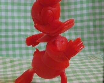 Red Solid Plastic Donald Duck Toy, Marx Toys Figure 1970s Era Disney Figurine Retro Decor or Collectible