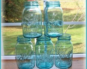 5 Blue Ball Mason Jars QUART Size Vintage