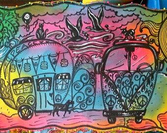 Trippie Hippie, Hippie Art, Fiber Art, Psychedelic Art, Island Art, Original Painting on Cloth, Wall Art