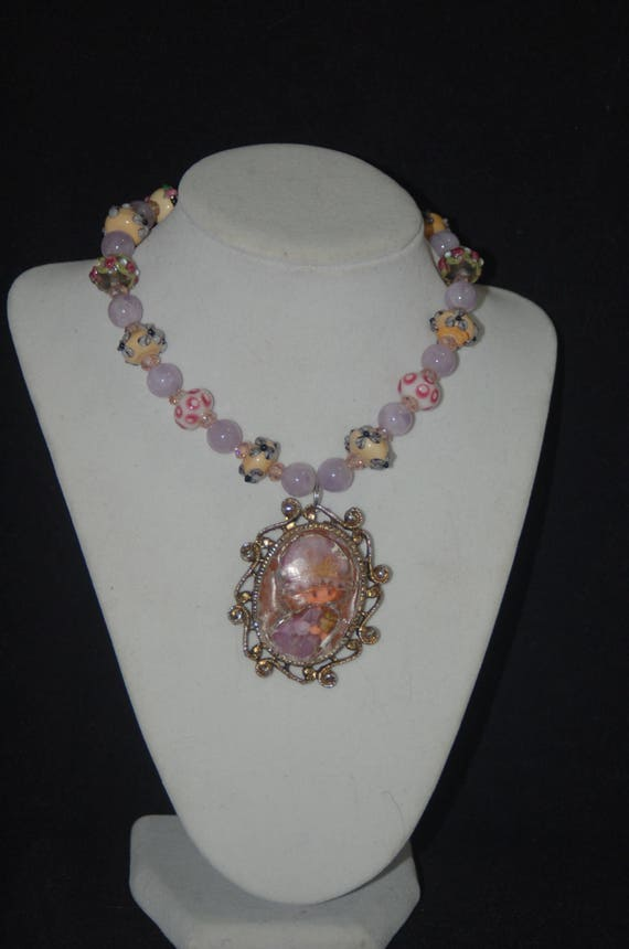 "Lampwork Amethyst and Honeystone Vintage Holly Hobbie Pendant Necklace - ""The Sophisticated Holly"""
