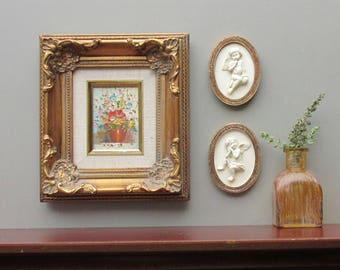 "vintage framed floral - wall art - "" Tiny Garden"" - 3 piece decorative artwork/gold framed cherubs"
