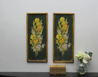 vintage wall decor - Vintage Bamboo -  2 framed prints - wall art
