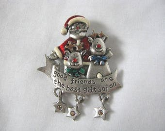 Santa & reindeer Holiday Christmas pin brooch AJMC