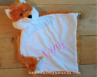 """Orange FOX Minky Blanket - Personalized Fox Lovie Blankie - Monogram Lovey 13"""" x 13"""" LIMITED EDITION"""