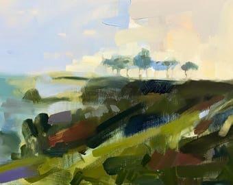 India no. 6 Landscape Original Oil Painting by Angela Moulton 18 x 29 inch