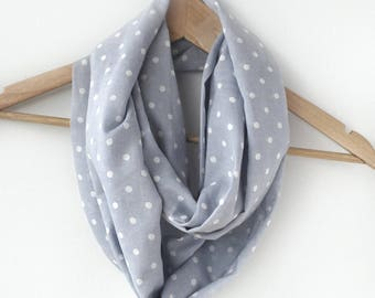 Blue and white cotton scarf - Denim Blue Infinity Scarf - Blue Cotton Loop Scarf