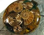 Large Ammonite Orgone Pendant - Tiger Eye and Malachite