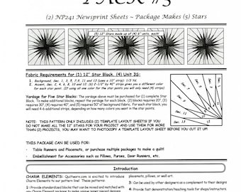 Charm Elements 3 Foundation Papers - Star Block - Papers Included for 5 Stars - JNQ144P