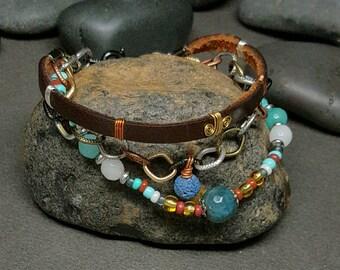Leather Bracelet | Boho Style Bracelet |  Lava Bead Charm| Bohemian Style | Multi Bracelet | Triple strand Bracelet |  Gypsy | Trine | Zen