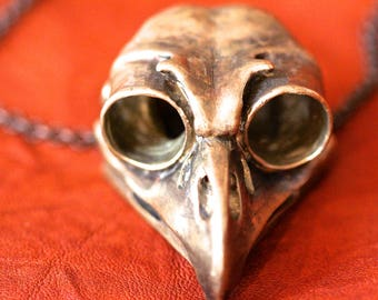 Great Horned Owl Skull Necklace BIG in yellow bronze Made in NYC