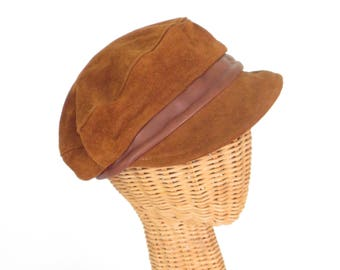 Leather Newsboy Cap * Leather Hat * Suede Hat * Vintage Hat