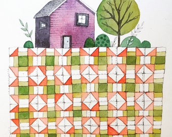little house and churn dash quilt original watercolor painting