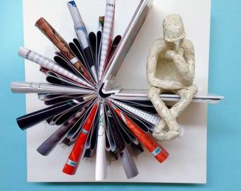The Thinker (Original Book Art Sculpture)