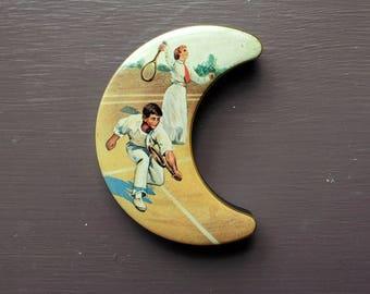 Vintage Lackerli-Huus Tin Box, Crescent Moon Shape, Vintage Tennis Scene, Swiss Mints