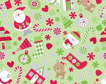 Riley Blake -Holidays Main Green Knit by the yard