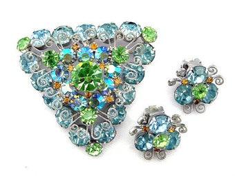 Vintage Brooch Earrings Set Pale Blue & Green Rhinestones Juliana Style Triangle Brooch and Earrings