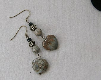 Ocean Jasper Heart Earrings on Gold with Picture Jasper, Gray, Black, Gold, Ochre