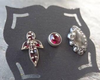 Vintage Sterling Studs - Sterling - Mismatched Earrings - Single - Post Earrings - Victorian Studs - Garnet - Filigree Tag - Ruby Red