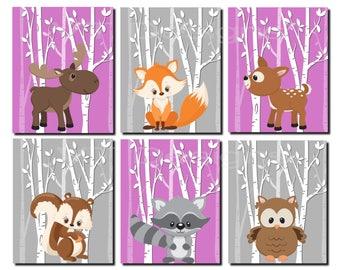 Woodland Nursery, Girl Woodland Wall Decor, Violet, Gray, Purple, Girl Nursery Wall Art, Fox, Squirrel, Deer, Set of 6 Prints or Canvas