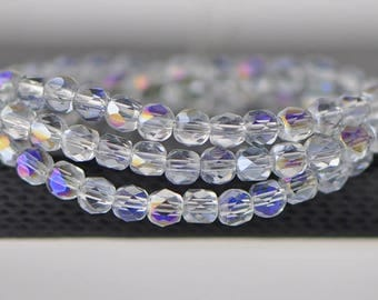 95pcs Round Crystal Glass Faceted Beads 4mm Sparkly Purple -(18QZ04-3)