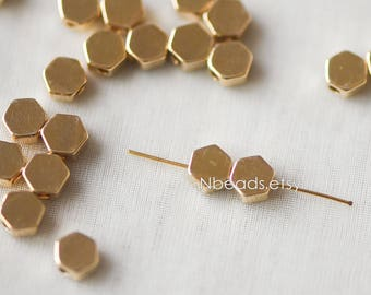 20pcs Gold plated Brass Hexagon Flat Spacer Beads 5mm (GB-118)