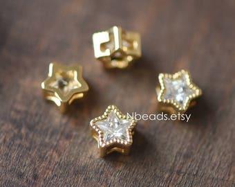 10pcs Gold plated Brass Rhinestone Star Beads 7mm (GB-123)