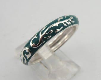 925 Sterling Silver 4 mm Green Enamel Design, Wedding Band, Men ring,  Matching Band, Enamel Ring, size 9, Gift, Birthday, Woman Ring