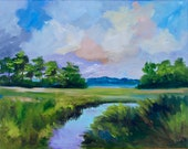 Marsh Low Country Wall Decor Modern Impressionist Original Oil South Carolina Wetlands Landscape Painting by Rebecca Croft