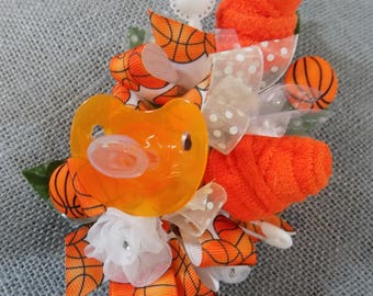 Basketball Themed Baby Shower Washcloth Corsage - Pin On Corsage - Orange Pacifier & Washcloths Corsage- Baby Shower Items