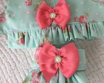 Shabby Chic  Dog Ruffled   Harness with skirt or can change out for diaper  for Girl Dog Custom Made