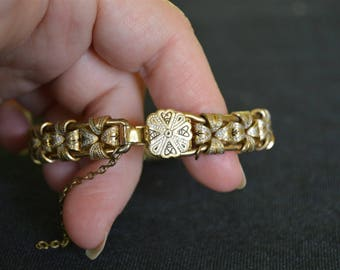 Vintage Gold Metal Bangle Bracelet 1940's - 1950's