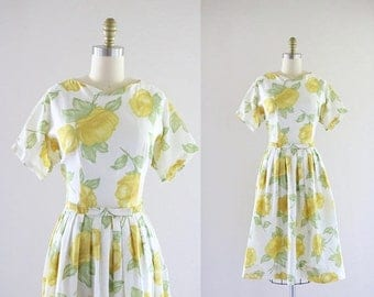 ON SALE 1950's golden rose dress
