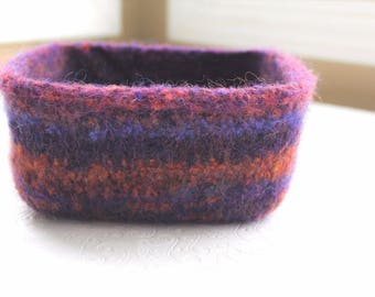 Purple Orange Wool Felt Basket, Knit Felt Storage Basket, Boiled Wool Small Storage Basket, Soft Wool Storage Container, Wool Square Bowl