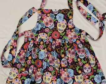 Girls Full Apron - Day of the Dead Cotton Print Fabric with Sugar Skulls