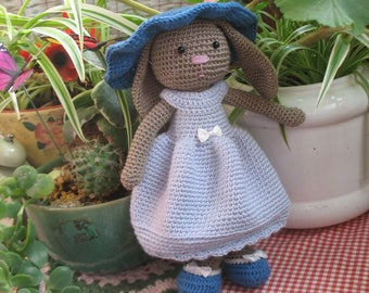 Lovely crochet bunny girl with one crochet and one knitted dress