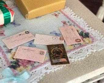 SALE Miniature Mail, 5 Piece Set, Dollhouse Miniature, 1:12 Scale, Dollhouse Accessories, Decor, Crafts, Mini Envelopes, Letters
