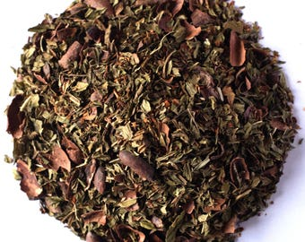 AFTER EIGHT TEA (Organic loose leaf Vanilla Rooibos Tea with Cacao and Mint) Samples Sizes