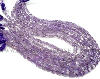 Gemstones Beads, Amethyst (Light) Smooth Brick (Quality A) / 4x5 to 5x7 mm / 36 cm / AME-035