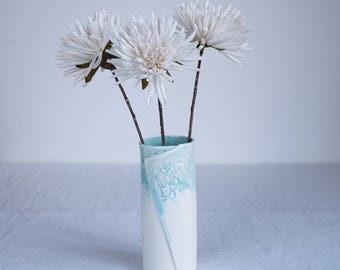LEAF cylindrical porcelain vase with aqua / turquoise and white glaze, hand made contemporary ceramic vase
