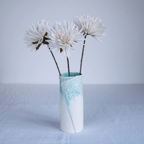 LEAF cylindrical porcelain vase with aqua / turquoise and white glaze, hand made contemporary ceramic vase