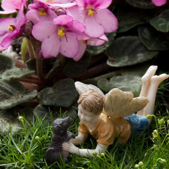 "Fairy Ross and Winston the Puppy (3"" Long) for the Fairy Garden"