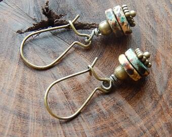 Little graffiti earrings - colorful dangle earrings - multicolored mykonos ceramic disc earrings - little dangles - bohemian jewelry