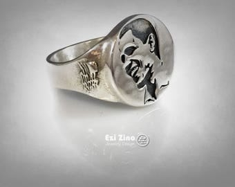 Barak Obama Portrait Sterling Silver 925 Ring by : EZI ZINO