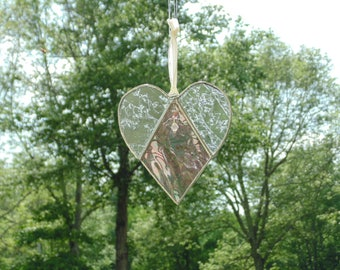 Sympathy angel heart suncatcher, stained glass heart, iridescent purple heart, angel of sympathy, gift under 30, mourning grieving gift
