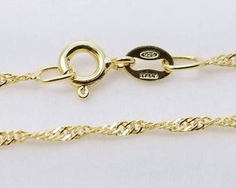 10 pc, 16 inch Sterling Silver Singapore Chain 18K Gold Plate - NCF
